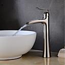 billige Vandhaner til badeværelset-Håndvasken vandhane - Vandfald Krom / Nikkel Børstet Centersat Enkelt håndtag Et Hul