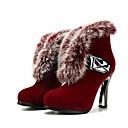 baratos Botas Femininas-Mulheres Sapatos Confortáveis Camurça Outono & inverno Botas Salto Robusto Preto / Vinho / Castanho Escuro