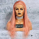 cheap Synthetic Capless Wigs-Virgin Human Hair Full Lace Wig Brazilian Hair Silky Straight Pink Wig Deep Parting With Ponytail 150% Hair Density with Baby Hair Smooth Best Quality Pink Women's Long Human Hair Lace Wig Premierwigs