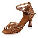 ieftine Pantofi Dans Latin-Pentru femei Pantofi Dans Latin Piele de Căprioară Sandale Cataramă Toc Flared Pantofi de dans Negru / Maro / Negru și Auriu