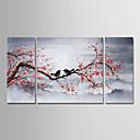 halpa Kukkamaalaukset-Hang-Painted öljymaalaus Maalattu - Kukkakuvio / Kasvitiede Moderni Sisällytä Inner Frame / 3 paneeli / Venytetty kangas