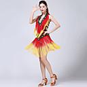 abordables Ropa para Baile Latino-Baile Latino Vestidos Mujer Rendimiento Poliéster Borla / Ceñido / Cristales / Rhinestones Sin Mangas Cintura Alta Vestido