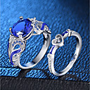 cheap Rings-Women's Blue Synthetic Sapphire Hollow Out Statement Ring Ring Ring Set - Platinum Plated, Imitation Diamond Heart, Love Romantic, Fashion, French 6 / 7 / 8 / 9 / 10 Silver For Party Date / 2pcs