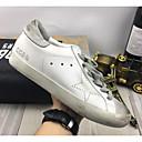 preiswerte Herren Turnschuhe-Damen Komfort Schuhe Nappaleder Sommer Sneakers Flacher Absatz Geschlossene Spitze Weiß