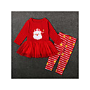 cheap Girls' Clothing Sets-Kids / Toddler Girls' Basic Christmas / Daily / Holiday Striped Long Sleeve Regular Regular Cotton / Polyester Clothing Set Red 2-3 Years(100cm)