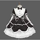 זול שמלות לוליטה-לוליטה מתוקה אלגנטית שמלות בנות נקבה תחרה כותנה Japanese תחפושות Cosplay שחור / כחול / ורוד וינטאג' תחרה שרוול נפוח שרוול ארוך באורך  הברך