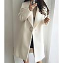 preiswerte Zubehör für GoPro-Damen Alltag Grundlegend Lang Trench Coat, Solide Umlegekragen Langarm Wolle Weiß / Rosa L / XL / XXL