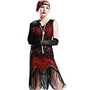 cheap Steampunk-The Great Gatsby 1920s The Great Gatsby Roaring Twenties Costume Women's Dress Flapper Headband Head Jewelry Vintage Necklace Red black Vintage Cosplay Party Prom Sleeveless / Sequins