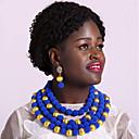 povoljno Komplet nakita-Žene Strands Ogrlica Više slojeva dame Moda afrički Naušnice Jewelry Zelen / Pink / Jarko ružičasto Za Party