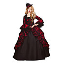 cheap Historical & Vintage Costumes-Rococo Victorian Costume Women's Dress Party Costume Masquerade Red Vintage Cosplay Lace Cotton Party Prom Long Sleeve Poet Sleeve Floor Length Long Length Ball Gown Plus Size Customized / Floral