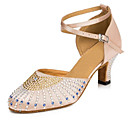 cheap Modern Shoes-Women's Modern Shoes Satin Sandal / Heel Rhinestone / Buckle Cuban Heel Customizable Dance Shoes Pink / White