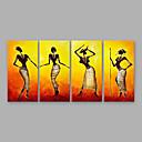 povoljno Apstraktno slikarstvo-Hang oslikana uljanim bojama Ručno oslikana - Ljudi Moderna Uključi Unutarnji okvir / Četiri plohe / Prošireni platno