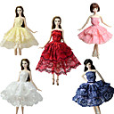 baratos Acessórios de Boneca-Festa / Noite / Vestido de Baile Vestidos 5 pcs Para Boneca Barbie Renda / Cetim Vestido Para Menina de Boneca de Brinquedo