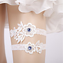 cheap Wedding Garters-Lace / Milk Fiber Wedding Wedding Garter With Lace-trimmed Bottom / Crystals / Rhinestones Garters Wedding