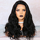 cheap Human Hair Wigs-Remy Human Hair Lace Front Wig Brazilian Hair Body Wave Wig Deep Parting Side Part 250% Density with Baby Hair Best Quality Hot Sale Thick Natural Women's Medium Length Human Hair Lace Wig WoWEbony