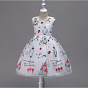 cheap Girls' Dresses-Toddler Girls' Sweet Party Geometric Sleeveless Polyester Dress Red 8-9 Years(150cm)