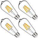 رخيصةأون LED مصابيح متوهجة-KWB 4PCS 6 W 6000 lm E26 / E27 مصابيحLED ST64 6 الخرز LED COB ديكور أبيض دافئ 220-240 V / 110-130 V / 85-265 V