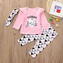 povoljno Kigurumi plišane pidžame-Dijete koje je tek prohodalo Djevojčice Aktivan Osnovni Dnevno Crno-bijela Geometrijski oblici Print Dugih rukava Regularna Normalne dužine Pamuk Komplet odjeće Blushing Pink