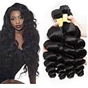 Недорогие Пряди натуральных волос-3 Связки Перуанские волосы Волнистый Натуральные волосы Необработанные натуральные волосы Человека ткет Волосы Удлинитель Пучок волос 8-28 дюймовый Естественный цвет Ткет человеческих волос