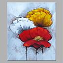 tanie Obrazy: abstrakcja-Hang-Malowane obraz olejny Ręcznie malowane - Abstrakcja / Kwiatowy / Roślinny Nowoczesny Zwinięte płótna / Zwijane płótno