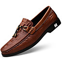 cheap Men's Slip-ons & Loafers-Men's Leather Shoes Nappa Leather Spring &  Fall Casual / British Loafers & Slip-Ons Massage White / Black / Brown