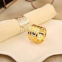 hesapli Peçete Halkası-Çağdaş / Günlük Paslanmaz Çelik Yuvarlak Peçete Yüzüğü Desenli Masa Süslemeleri 1 pcs