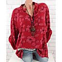 baratos Smartwatches-Mulheres Tamanhos Grandes Blusa Básico Floral Algodão Colarinho de Camisa Solto