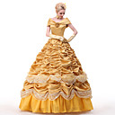 cheap Sexy Uniforms-Princess Belle Dress Cosplay Costume All Movie Cosplay Yellow Dress Petticoat Ribbons Christmas Halloween New Year Satin