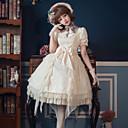 billige Lolitaparykker-Søt Lolita Søt Lolita Elegant Blonde Dame Kjoler Cosplay Hvit / Svart Blonde Ermer Langermet Lang Lengde kostymer