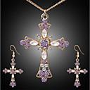 abordables Relojes de Moda-Mujer Circonita Violeta Conjunto de joyas Brillante Cruz damas, Elegante, Clásico Incluir Pendientes colgantes Collar Dorado Para Diario