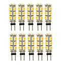 billige Spotlys med LED-SENCART 10pcs 3 W 180 lm G4 LED-lamper med G-sokkel T 13 LED perler SMD 5050 Dekorativ Varm hvit / Hvit / Rød 12 V