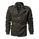 cheap Night Lights-Men's Daily Basic Regular Jacket, Solid Colored Turndown Long Sleeve Polyester Green / Black / Khaki XL / XXL / XXXL