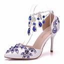 cheap Wedding Shoes-Women's PU(Polyurethane) Spring & Summer Classic Wedding Shoes Stiletto Heel Pointed Toe Rhinestone / Buckle / Tassel Blue