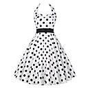 preiswerte Retro-Königin-Audrey Hepburn Tupfen Retro / Vintage 50er Kostüm Damen Kleid Weiß / Schwarz Vintage Cosplay Ärmellos Knie-Länge
