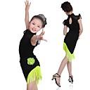 billige Dansetøj til børn-Latin Dans Kjoler Pige Træning / Ydeevne Elastin / Lycra Kvast Uden ærmer Kjole