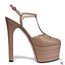 levne Dámské sandály-Dámské Kůže Léto Na běžné nošení Sandály Vysoký úzký S uzavřeným palcem Červená / Zelená / Mandlová
