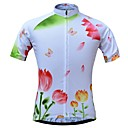 cheap Cycling Jerseys-JESOCYCLING Women's Short Sleeve Cycling Jersey White Floral Botanical Bike Jersey Top Breathable Moisture Wicking Quick Dry Sports 100% Polyester Mountain Bike MTB Road Bike Cycling Clothing Apparel