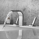 זול ברזים לחדר האמבטיה-חדר רחצה כיור ברז - מפל מים / נפוץ / עיצוב חדש כרום חורים צדדיים שתי ידיות שלושה חוריםBath Taps