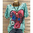 billige Veggklistremerker-Store størrelser T-skjorte Dame - Grafisk, Paljetter / Blomster Gatemote Grønn XXXL / Vår / Sommer / Høst