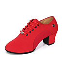 cheap Ballroom Shoes & Modern Dance Shoes-Women's Canvas Jazz Shoes Heel Thick Heel Customizable Black / Red / Performance / Practice
