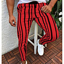 cheap Robes & Sleepwear-Men's Street chic Sweatpants Pants - Solid Colored / Striped White