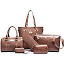 hesapli Çanta Setleri-Kadın's Fermuar / Süslü PU Çanta Setleri Çanta Setleri 6 Adet Çanta Seti Sarı / Kahve / Şarap