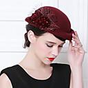 levne Ozdoby do vlasů na večírek-Elizabeth Úžasná paní Maiselová Dámské Dospělé dámy Retro Cloche Hat Fascinator Hat Fuchsiová Červená Kávová Květiny Vlna Doplňky do vlasů Lolita Příslušenství