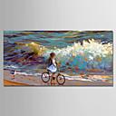 tanie Obrazy olejne-Hang-Malowane obraz olejny Ręcznie malowane - Krajobraz Nowoczesny Zwinięte płótna / Zwijane płótno