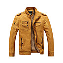 cheap Men's Bracelets-Men's Daily / Weekend Punk & Gothic Fall / Winter Regular Leather Jacket, Solid Colored Stand Long Sleeve PU Brown / Black / Yellow XL / XXL / XXXL