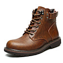 cheap Men's Boots-Men's Combat Boots Cowhide Winter Casual Boots Water Proof Mid-Calf Boots Black / Brown