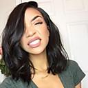 voordelige Kanten pruiken van echt haar-Mensen Remy Haar Kanten Voorkant Pruik Bobkapsel Korte Bob Kardashian stijl Braziliaans haar Golvend Zwart Pruik 130% Haardichtheid met babyhaar Natuurlijke haarlijn Afro-Amerikaanse pruik Voor