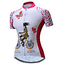 cheap Cycling Underwear & Base Layer-TELEYI Women's Short Sleeve Cycling Jersey - Pink Floral / Botanical Bike Jersey Breathable Quick Dry Sports Polyester Mountain Bike MTB Road Bike Cycling Clothing Apparel / Stretchy / SBS Zipper