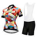 cheap Cycling Jersey & Shorts / Pants Sets-FirtySnow Women's Short Sleeve Cycling Jersey with Bib Shorts - White Black Plaid / Checkered Bike Clothing Suit Breathable Quick Dry Sports Polyester Plaid / Checkered Mountain Bike MTB Road Bike