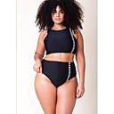 cheap Lip Liner-Women's Plunging Neck Black Cheeky Tankini Swimwear - Striped XL XXL XXXL Black / Sexy